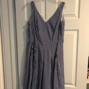 Blue and white checkered dress